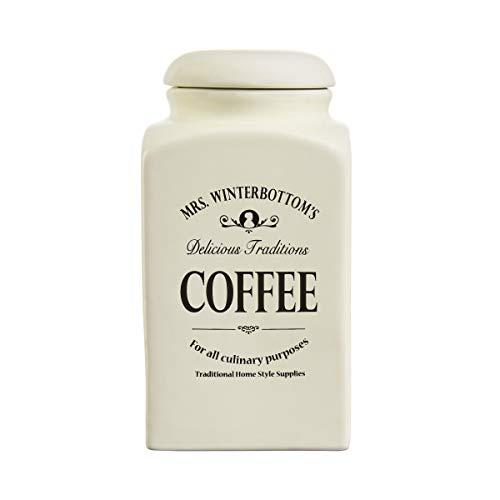 BUTLERS MRS. WINTERBOTTOM'S Kaffeedose 1,3 l in Creme - Vintage Vorratsdose aus Steingut im englischen Design - stilvolle, klassische Aufbewahrung