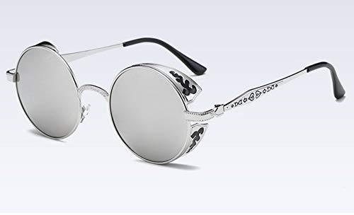 Sonnenbrille Polarisierte Sonnenbrille Dampf Beschichtung Gespiegelt Runder Kreis Sonnenbrille Retro Silber Vintage Green