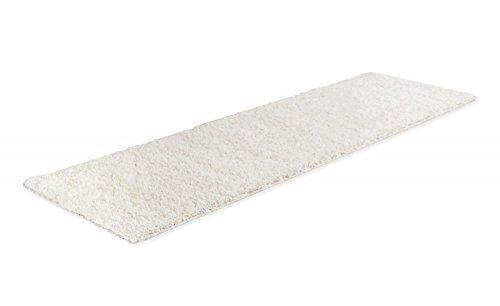 Moderner Designer Teppich Shaggy Weiss, Größe:80 x 250 Läufer