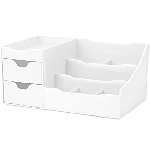 Uncluttered Designs Makeup Organiser With Drawers (White)