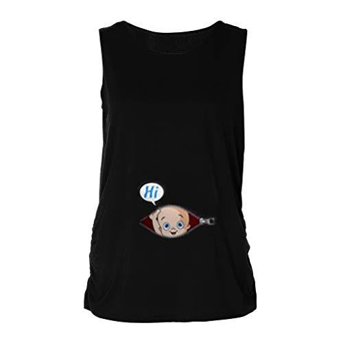 Damen Maternity Lustige Witzige süße Umstandsmode/Umstandsshirt mit Motiv für die Schwangerschaft/T-Shirt Schwangerschaftsshirt Damen Baby in der Tasche Top Oberteil Für Schwangere