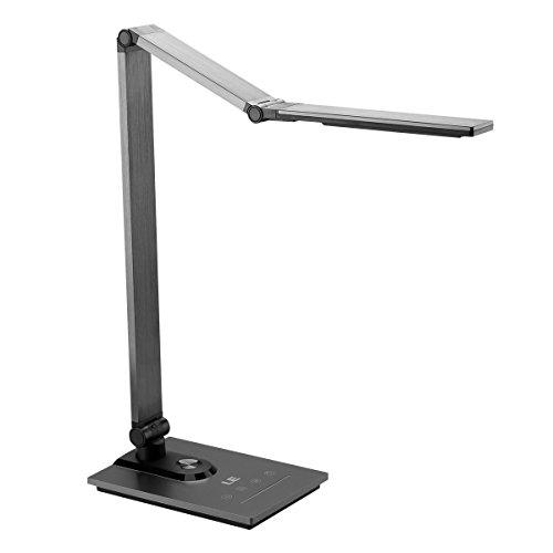 LE LED Schreibtischlampe Metall Helligkeit stufenlos dimmbar 3 Farbtemperatur, Tageslichtlampe mit Timmer- und Speicherfunktion Tischleuchte Leselampe berührungsempfindlich USB Ladeanschluss
