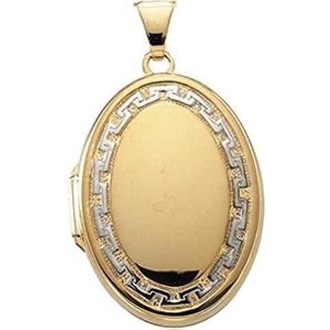 14K Bicolore Oro Ovale Medaglione, X 18.5mm