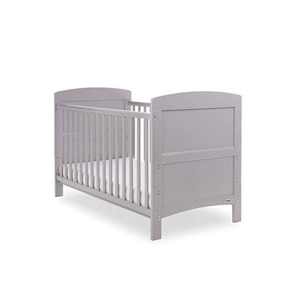 Obaby Grace Cot Bed, Warm Grey Obaby Adjustable 3 position mattress height Bed ends split to transform into toddler bed Protective teething rails along both side rails 1