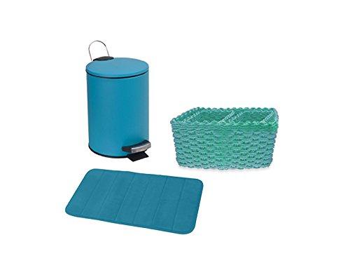 'Carpe Modo Panier de Salle de Bain 3 Pièces avec tapis de mousse, Poubelle Cosmétique et 3 pièces petrolia \