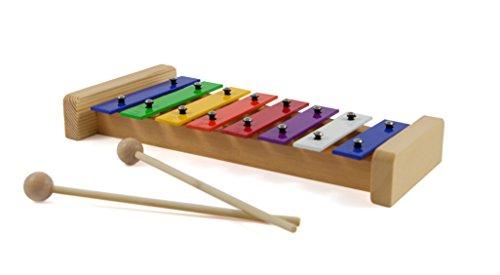 JEMIDO Holz Xylophon für Kinder, Größe 27.5x12.5cm, Farbe Regenbogen, Das Ideale Musikinstrument, Glockenspiel und Kinderspielzeug