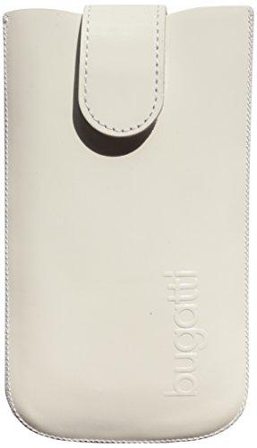 Bugatti 07547 Slim Case - Exklusive Premium Echtledertasche in weißem Lackleder mit