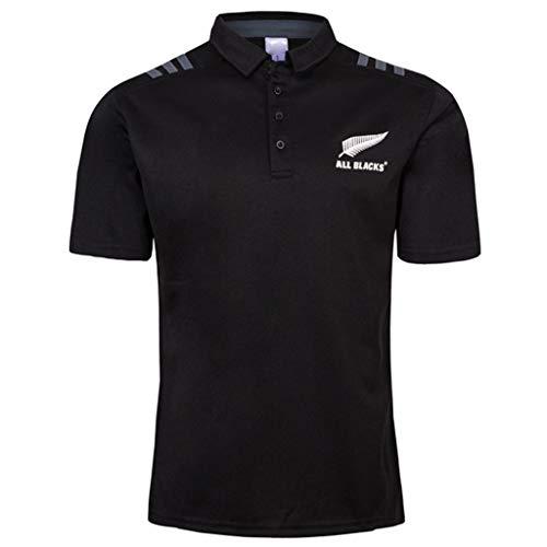 Wangxyan Jersey de Rugby para Hombres Nueva Zelanda All Blacks Polo de Rugby Camisetas de fanáticos Jersey Transpirable atlético Ropa gráfica clásica,B,XXL