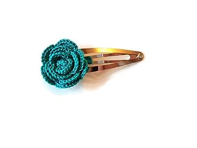 Pince à cheveux émeraude vert rose fait main crochet cheveux accessoires cadeau pour sa nature fleur