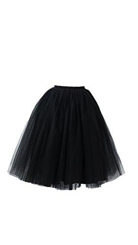 Honeystore Damen's Lang Ballet Petticoat Abschlussball Party Zubehör Tutu Unterkleid Rock Schwarz XL (Billig Diy Halloween Kostüme Für Frauen)