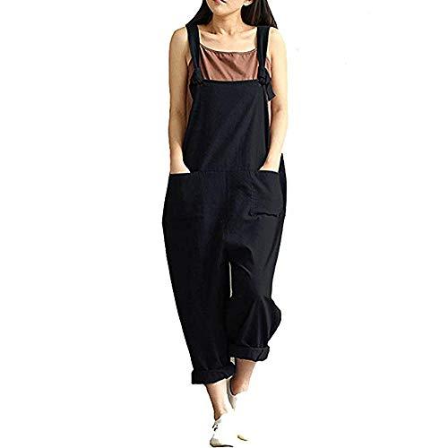 DOTBUY Damen Latzhose Jumpsuits Playsuit Overall mit Taschen Sommer Casual Elegant Loose Baggy Leinen Lange Wide Leg Hosen (5XL,Schwarz)