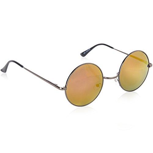Lennon Lila John Brille (Sonnenbrille John Lennon Ozzy Osbourne 60er Vintage Retro runde Gläser (Unisex, Schwarz - Lila)
