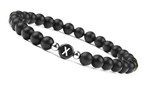 GOOD.designs name Pulsera hecha de piedras de ónix negro con cuentas de letras de A-Z, pulsera de amistad con pequeñas cuentas de plata esterlina (Letra X)