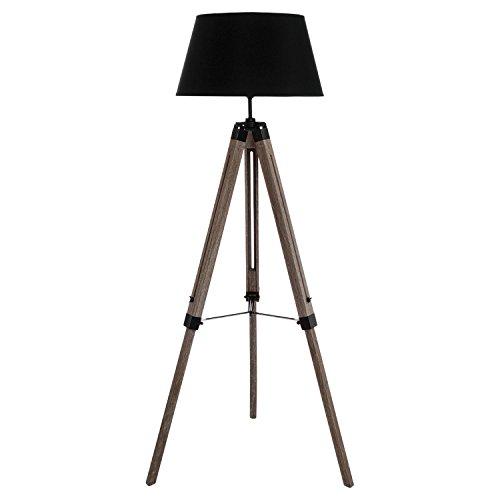 Lámpara sobre trípode - Estilo industrial - Patas de madera - Pantalla NEGRA.