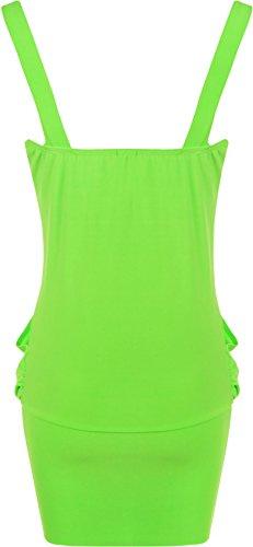 WearAll - Robe sans manches courte et bouffante avec un ourlet serré et une broche - Robes - Femmes - Grandes tailles 44 à 50 Vert Fluorescent