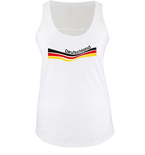 Comedy Shirts EM 2016 - Deutschland - Flagge geschwungen - Damen Tank Top - Weiss/Schwarz Gr. L