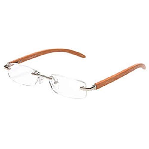Gaodaweian Randlose Unisex Lesebrille Super leichte Holz Bambus Design Rechteck Brille für Männer Frauen + 1 / + 1.5 / + 2 / + 2.5 / + 3 / + 3.5 (Silber +3.5) (Color : Silver, Size : 350)