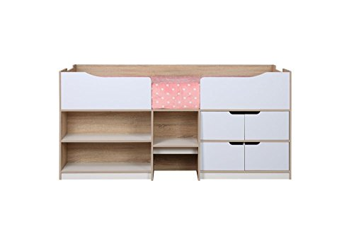Happy Beds Paddington Cabin Bed Wooden White and Oak Storage Drawers Kids Children with Pocket Sprung Mattress 3' Single 90 x 190 cm