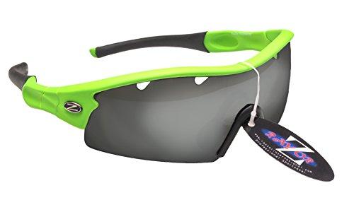 Professionelle Radsport-Sonnenbrille für Damen und Herren von RayZorLeichte Brille mit durchbogenem Rahmen für Radfahren und Sport.Outdoor-Brillengläser mit UV-400-Schutz.Blendfrei, bruchsicher, schützended; metallgrau mit blauen, verspiegelten Gläsern., Neon Green 220