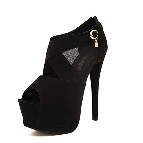 LBTSQ-Super-High-Heels Sandalen Maschendraht Sexy 15Cm Wasserdichte Plattform Fisch Im Mund-Schuhe Damenschuhe Mode.37 (Fisch Plattform Schuhe)