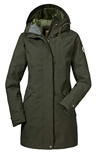 Schöffel Malmö Damen Parka, leichte Damen Jacke für Frühjahr und Sommer, wasserdichte Sommerjacke für Frauen mit praktischen Taschen , deep depths , 44