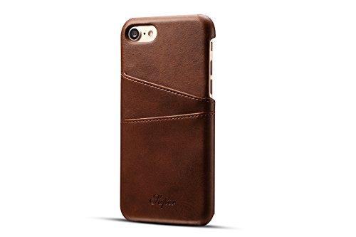 ele ELEOPTION PU Ledertasche kompatibel mit iPhone 7 Plus und iPhone 8 Plus Hülle Slim case Backcover mit Kartenhalter -