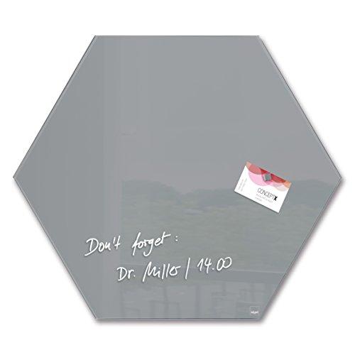 Sigel GL280 Glas-Magnetboard/Magnettafel artverum Grau, Sechseck, 40 x 46 cm - weitere Farben/Form