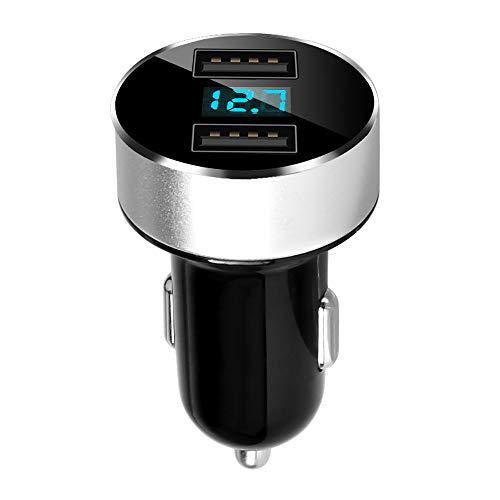 aceyoon Voltmeter Zigarettenanzünder KFZ mit LED Spannunganzeige 5V / 3.1A Mini USB Auto Schnellladegerät Adapter Steckdose 12V/24V mit 2 USB Port Ladestecker Aufladen für Galaxy Powerbank MEHRWEG