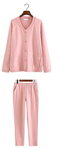 Hollwald Le pyjama femme Vêtement du nuit Chemise de nuit fille Couleur pure Veste de pyjama Décontracté Simple Demandé Ouverture boutonnée Manches longues (L, Bleu) Rose