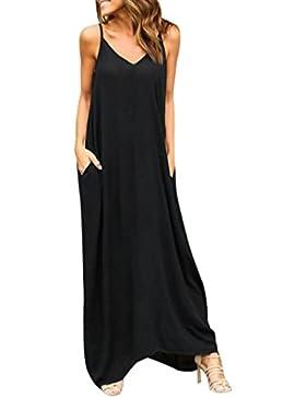 c50b1f912432 Homebaby® Abiti Lunghi Donna Eleganti Con Tasca - Vintage Estivi Vestiti  Casual Donna - Maxi