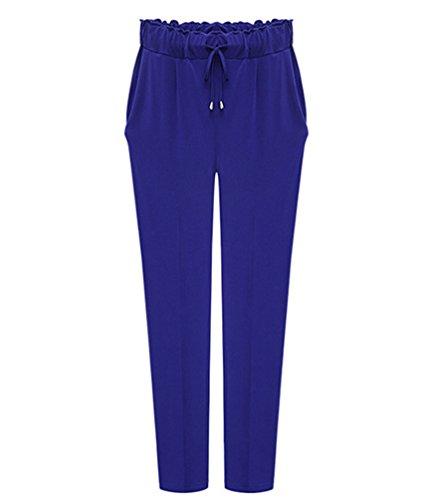 YiLianDa Donna Estivi Chiffon Taglie Forti Vita Alta Pantaloni Harem Larghi Elastico Sottile Pantaloni Blu