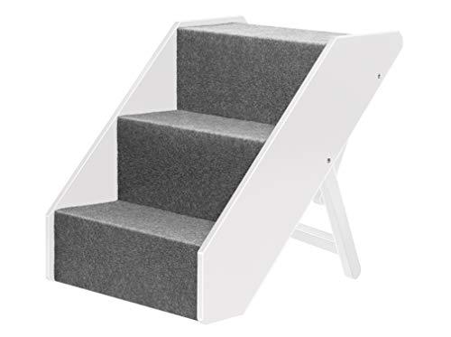 UPP Tiertreppe Deluxe massiv aus FSC Holz 3 stufig - Belastbar bis 70 KG - individuell höhenverstellbare Hundetreppe/Katzentreppe/Hunderampe/Treppe/Stufen (weiß)