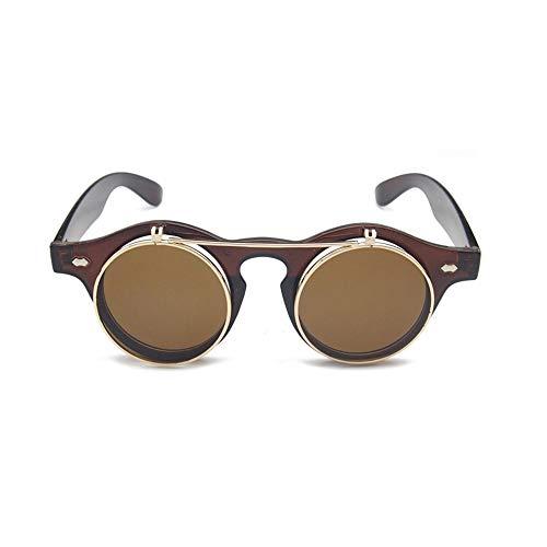 HUWAIYUNDONG Sonnenbrillen, Flip Up Round Shade Vintage Men Women Design Sunglasses Punk Classic Eyeglasses
