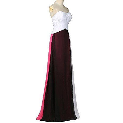 Bridal_Mall Damen Herzform Abendkleider Lang mehrfabig Einfach A-Linie Chiffon Plus Prom Partykleid Mehrfabig