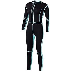 F Fityle Femme Combinaison de Plongée Anti-UV Épaisseur 3mm pour Paddle, Kitesurf, Natation - Noir + bleu clair, M