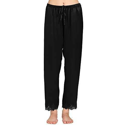 Lilysilk Pantalon Fluide en Soie 22 Momme Liseré Dentelle Bas de Pyjama Femme 100% Soie Noir
