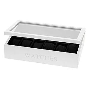 Uhrenbox für 12 Uhren, Uhrenkasten mit 12 Uhrenkissen (Weiß)