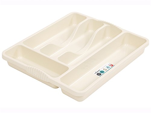 Wham 5 Compartment Cutlery Holder Tray Drawer Organiser Rack, Cream, 10 x 10 x 10 cm