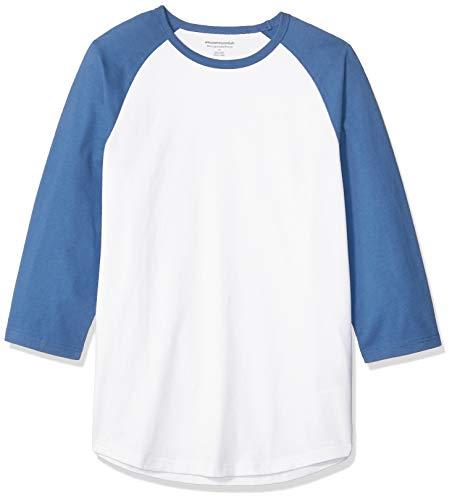 Amazon Essentials Slim-Fit 3/4 Sleeve Baseball fashion-t-shirts, Blue/White, US L (EU L) - 3/4 Sleeve Shirt