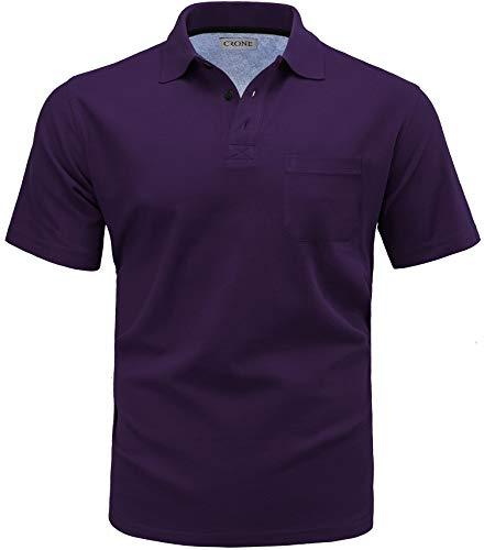 CRONE Basic Herren Pique Poloshirt Regular Fit mit Brusttasche (S, Violett) - Lila Baumwoll-piqué