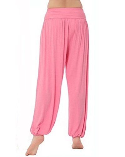 Donna Baggy Harem Pantaloni Solido Colore Aladdin Bloomers Yoga Jogging Sportivi Pink