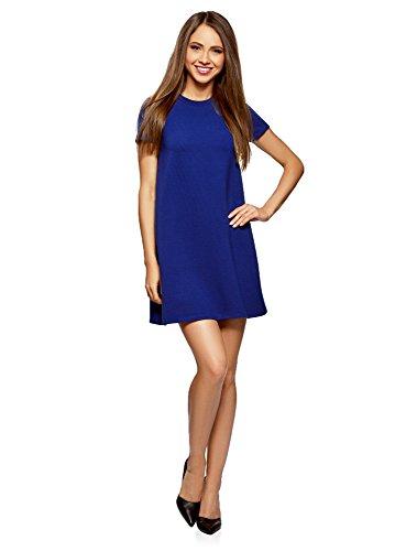 Blaues Casual Kleid (oodji Ultra Damen A-Linie-Kleid Gerippt, Blau, DE 38 / EU 40 / M)