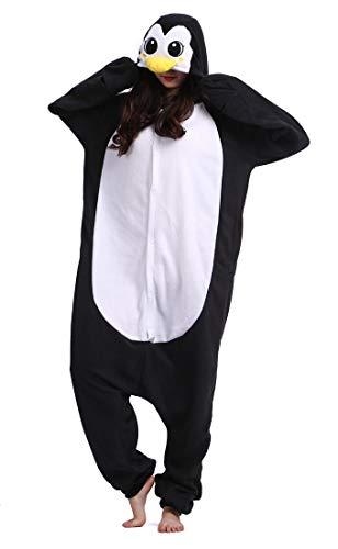 Pinguin Kostüm Pyjama - Erwachsene Tier Schlafanzug Kigurumi Pyjamas Cosplay Kostüm Overall Animal Sleepwear Schwarz Pinguin XL