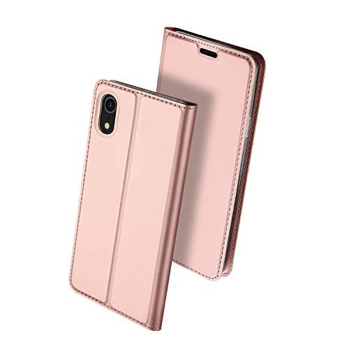 ür iPhone XR, stoßfest, Schlankes Design, Leder, Brieftaschen-Hülle mit Kartenfächern [Klappständer] Klapp-Cover für Apple iPhone XR 6,1 cm (6 Zoll), Rose Gold ()