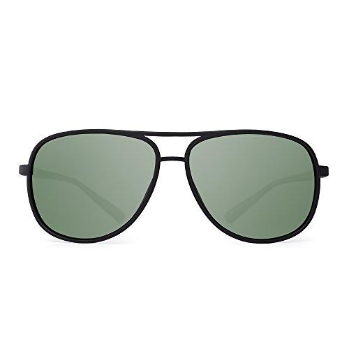 JM Retro Polarisiert Flieger Sonnenbrille Spiegel Leicht Gewichts Brillen Zum Damen Herren(Matt Schwarz/Polarisiertes Grün)