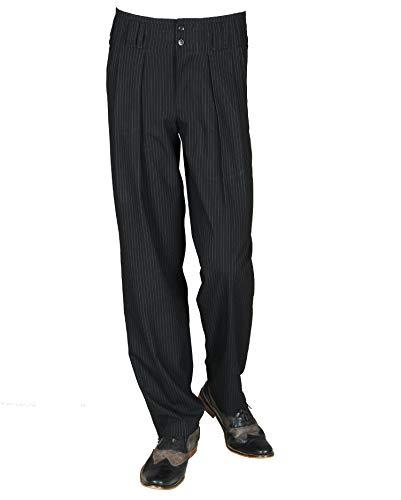 H.K.Mandel Schwarz Weiß gestreifte Bundfaltenhose Herren mit Extraweit geschnittene Beine, Vintage Stil Modell Boogie Größe 52