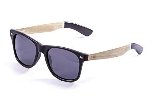 Ocean Sunglasses Beach, Occhiali da Sole, Montatura Black/Black/Bianco Legno Naturale Aste/Fumé Lenti