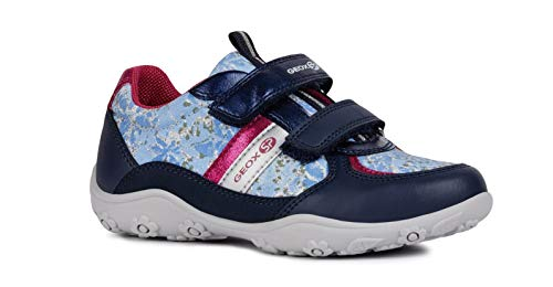 Geox Mädchen Low-Top Sneaker Adalyn Girl J926BB Kinder Halbschuh,Sportschuh,Klettschuh, Klett-Verschluss,Navy/Fuchsia,26 - Mid Sneakers Mädchen