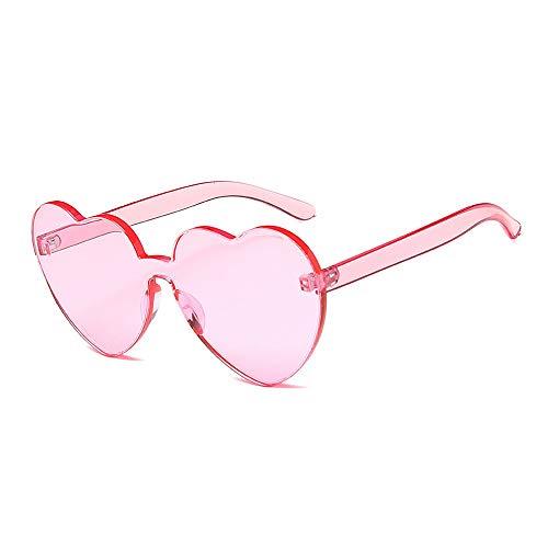 Mode Brillen Damen Sonnenbrille Einteilige Herzform Dame Sonnenbrille Coole UV-Schutz für Frauen klare Linse Fahren Occhiali (Farbe : Rosa)