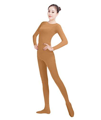 NiSeng Erwachsener und Kind Ganzkörperanzug Kostüm Lange Ärmel Bodysuit Kostüm Zentai Offene Bodysuit Kostüm Braun XS
